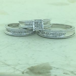 Jewelry - His & Her 10K W Gold Diamond Engagement Bridal Set